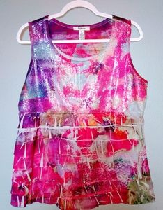 Pink, Purple & Gray Blouse w Sequined Front